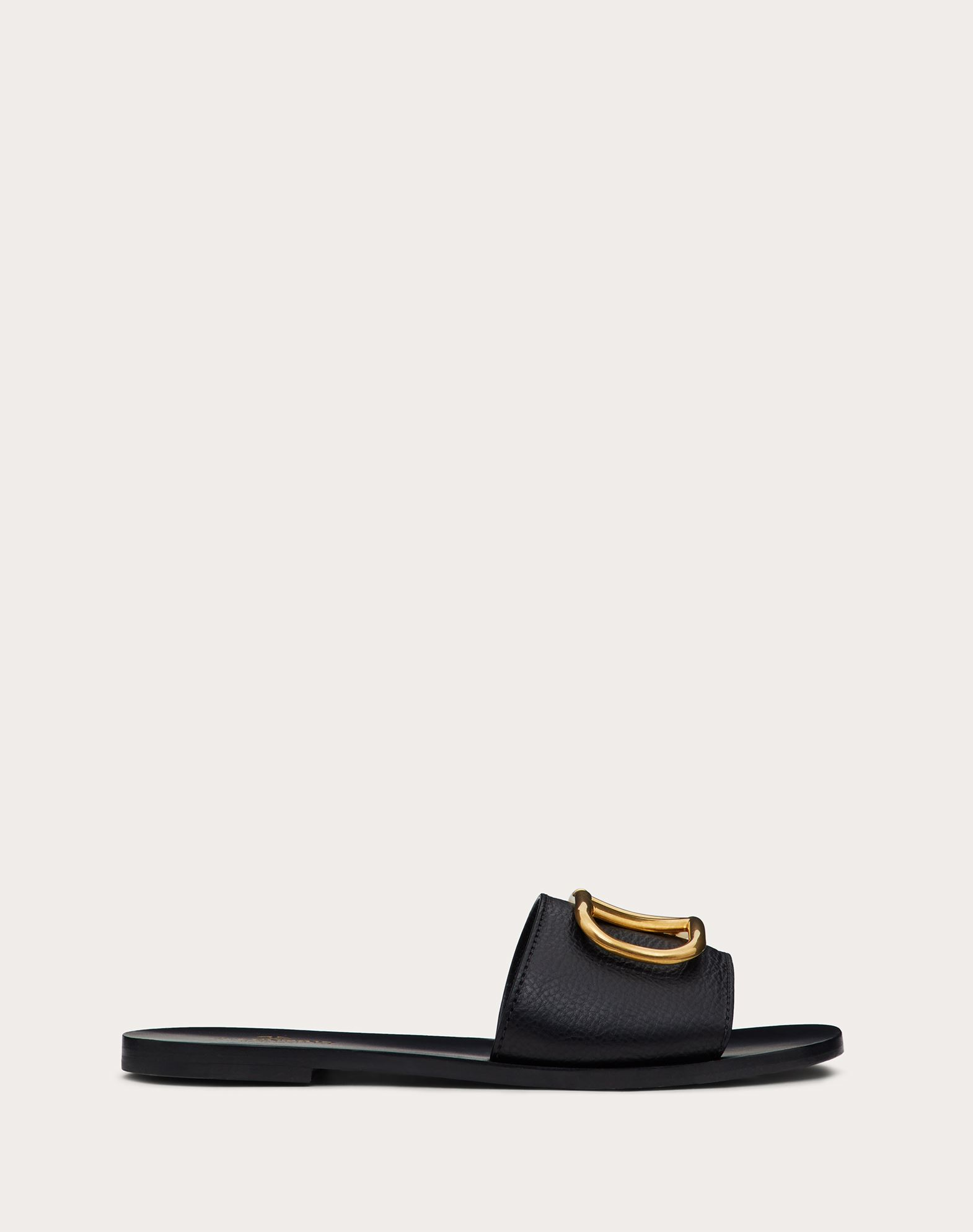 Grainy Cowhide Slip-on Sandal with VLOGO Detail 5mm