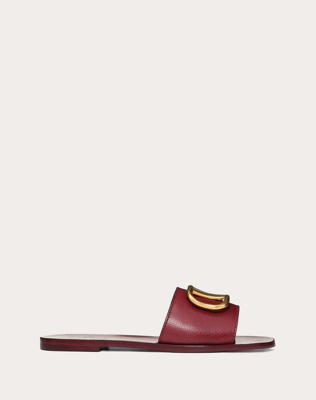 Grainy Cowhide Slide Sandal with VLOGO Detail