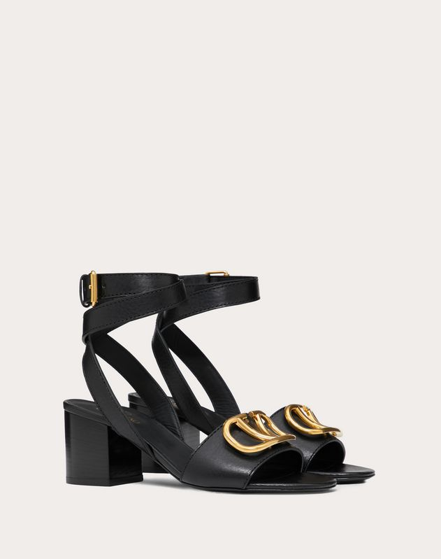 Grainy Cowhide Sandal with VLOGO Detail 60 mm