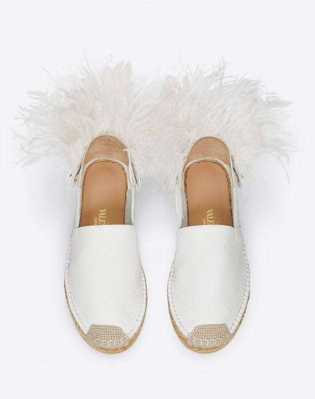 VLOGO Grainy Calfskin Espadrille With Feather Details