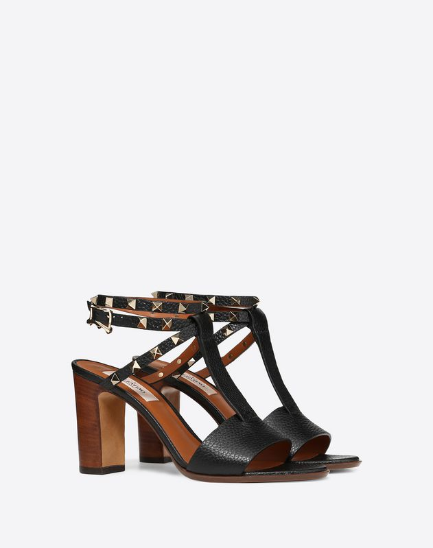 Grainy Leather Ankle Strap Sandal 85 mm