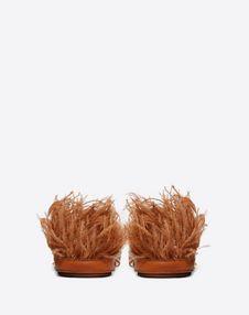 VLOGO Cowhide Slide Sandal with Feather Details