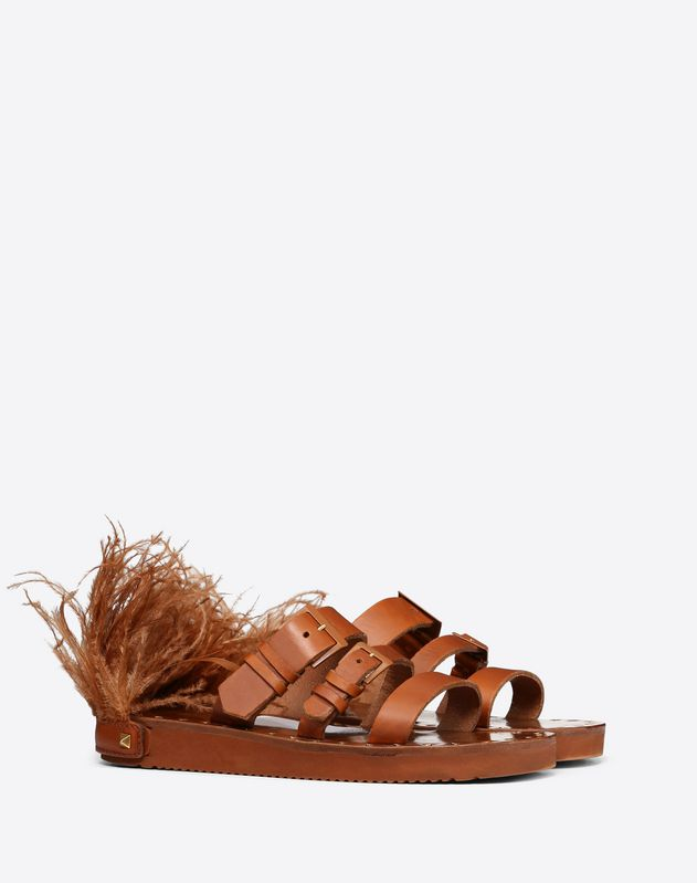 Cowhide Slide Sandal with Feather Details