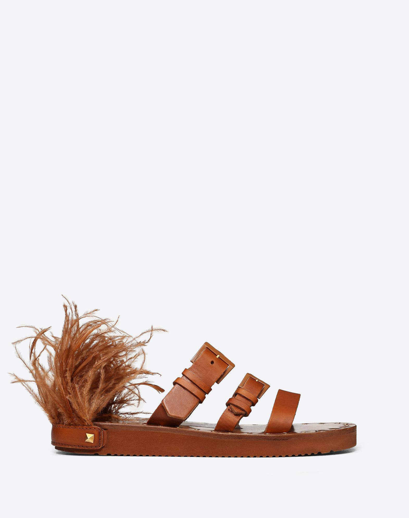 VLOGO Cowhide Slide Sandal with Feather Details