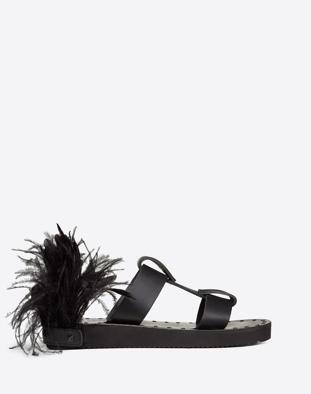 Cowhide VLOGO Slide Sandal with Feather Details