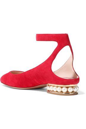 NICHOLAS KIRKWOOD Lola faux pearl-embellished suede ballet flats