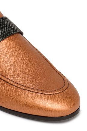 BRUNELLO CUCINELLI Metallic leather slippers