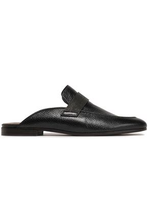 BRUNELLO CUCINELLI Textured-leather slippers