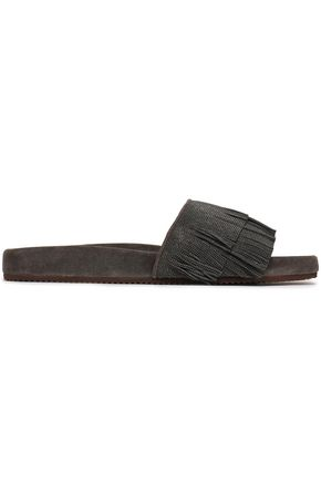 BRUNELLO CUCINELLI Bead-embellished fringed suede slides