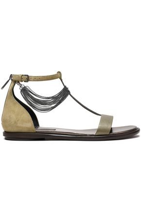 3f3d2b77a BRUNELLO CUCINELLI Bead-embellished suede and leather sandals