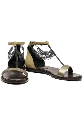 BRUNELLO CUCINELLI Bead-embellished suede and leather sandals