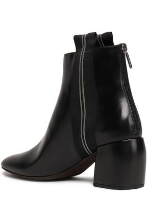 BRUNELLO CUCINELLI Grosgrain-trimmed glossed-leather ankle boots