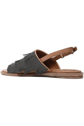 BRUNELLO CUCINELLI Fringed leather sandals