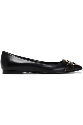 ROBERTO CAVALLI Embellished leather point-toe flats