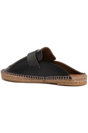 BRUNELLO CUCINELLI Bead-embellished leather espadrille slippers