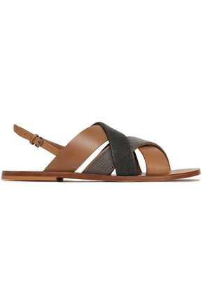 BRUNELLO CUCINELLI Bead-embellished leather sandals