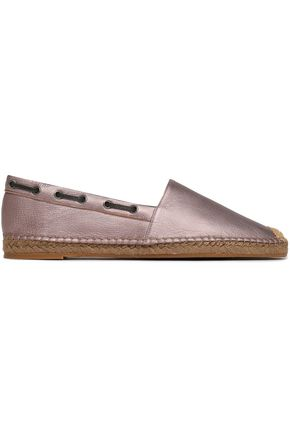 BRUNELLO CUCINELLI Bead-embellished metallic leather espadrilles