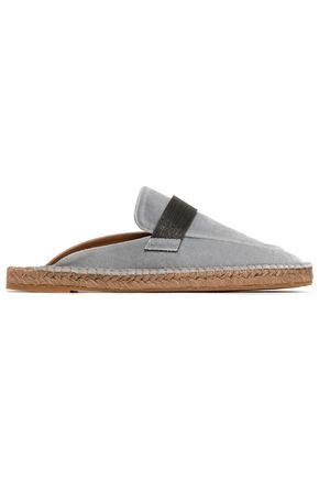 BRUNELLO CUCINELLI Bead-embellished velvet espadrille slippers