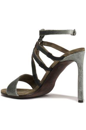 01444a0f5 ... BRUNELLO CUCINELLI Bead-embellished velvet sandals
