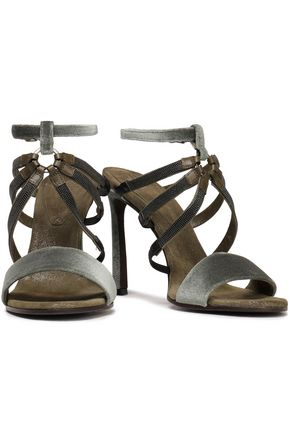BRUNELLO CUCINELLI Bead-embellished velvet sandals