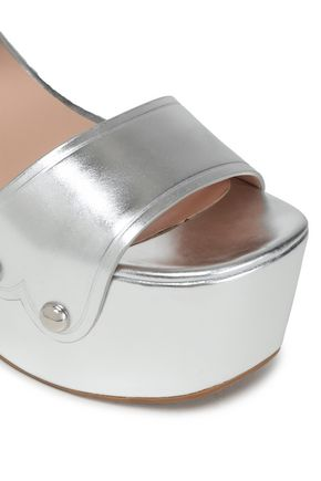 MARC JACOBS Metallic leather platform wedge sandals