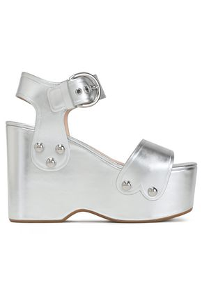 MARC JACOBS Metallic leather platform wedge sandals