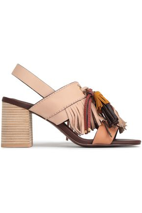 d9a6590f9a38 SEE BY CHLOÉ Tasseled leather and suede slingback sandals
