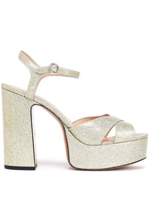 MARC JACOBS Glittered leather platform sandals
