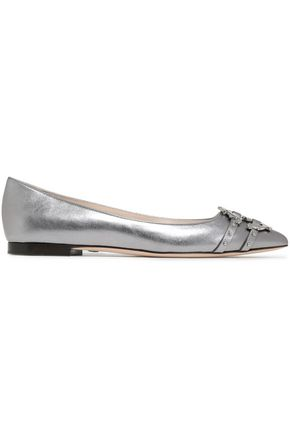 ROBERTO CAVALLI Embellished metallic textured-leather point-toe flats
