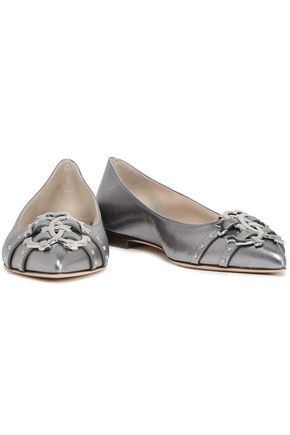 e7728cf97f987a ROBERTO CAVALLI Embellished metallic textured-leather point-toe flats