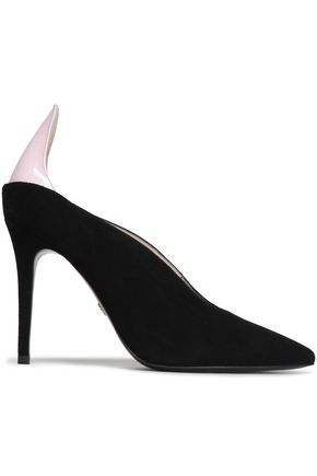 ROBERTO CAVALLI Suede and patent-leather pumps