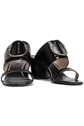 ROBERTO CAVALLI Embellished patent-leather mules