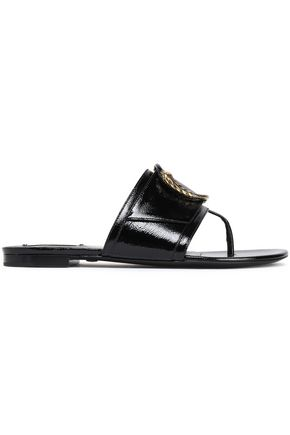 ROBERTO CAVALLI Embellished patent-leather slides