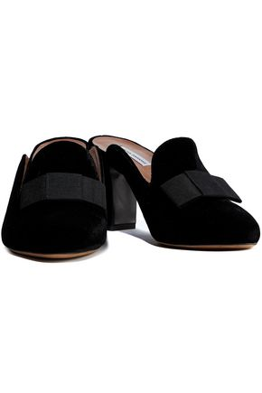 Tabitha Simmons Mules TABITHA SIMMONS WOMAN ANYA BOW-EMBELLISHED VELVET MULES BLACK