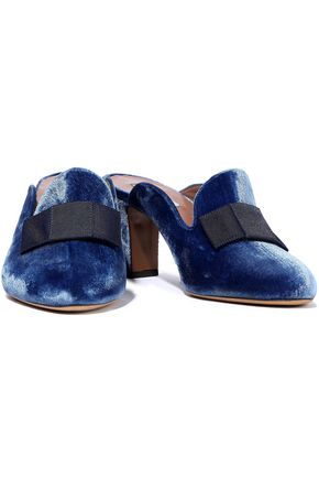 Tabitha Simmons Mules TABITHA SIMMONS WOMAN ANYA BOW-EMBELLISHED VELVET MULES BLUE