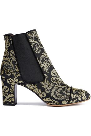 TABITHA SIMMONS Metallic jacquard ankle boots