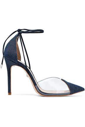 SCHUTZ PVC-paneled denim pumps