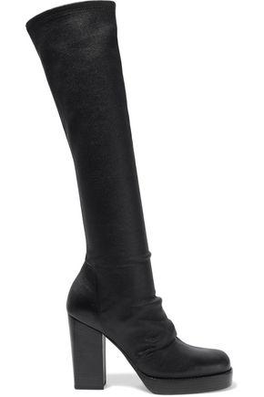 RICK OWENS Gathered stretch-leather platform boots