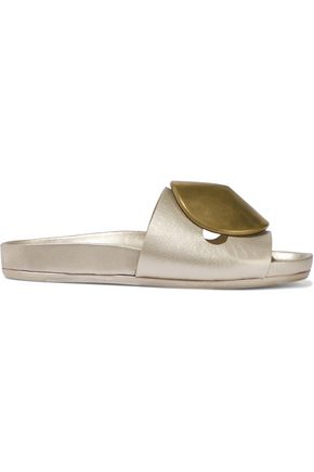 RICK OWENS Appliquéd metallic textured-leather slides