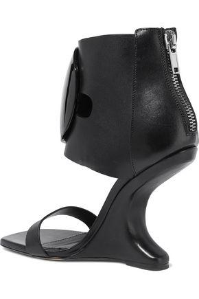 RICK OWENS Disc embellished leather wedge sandals