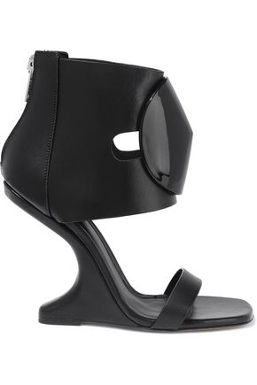 RICK OWENS Disc embellished leather wedge sandals