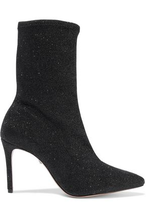 SCHUTZ Mislane glittered stretch-knit sock boots