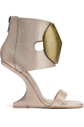 c6a77c63ac5 RICK OWENS Disc embellished leather wedge sandals