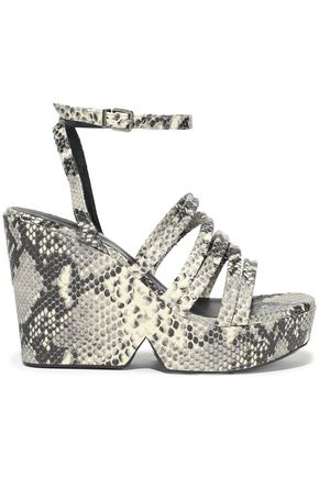 ROBERT CLERGERIE Dioci snake-effect leather wedge sandals