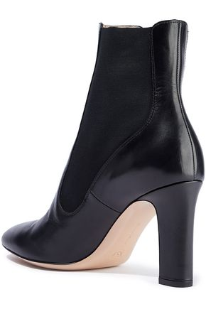GIANVITO ROSSI Jenene paneled leather and stretch-knit ankle boots