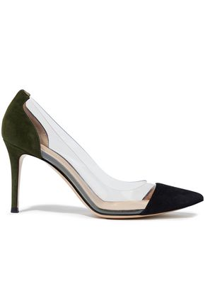 GIANVITO ROSSI Plexi 85 suede and PVC pumps