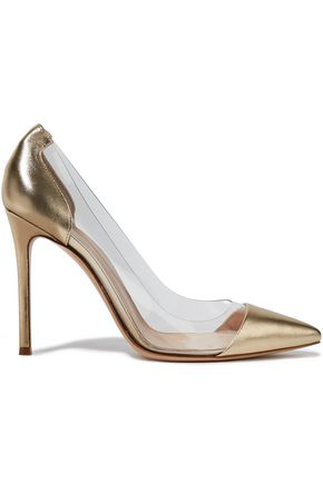 GIANVITO ROSSI Plexi 100 metallic leather and PVC pumps