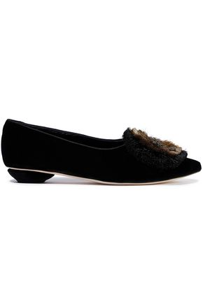 SANAYI 313 Zarina appliquéd velvet point-toe flats