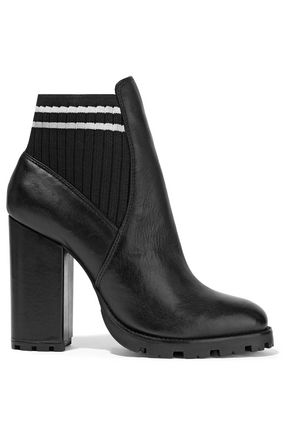SCHUTZ Ilenne striped rib-paneled leather ankle boots