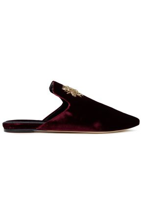 SANAYI 313 Ragno metallic embroidered velvet slippers
